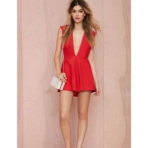 New NASTY GAL Red In Deep Romper Jumpsuit NWT [A9]